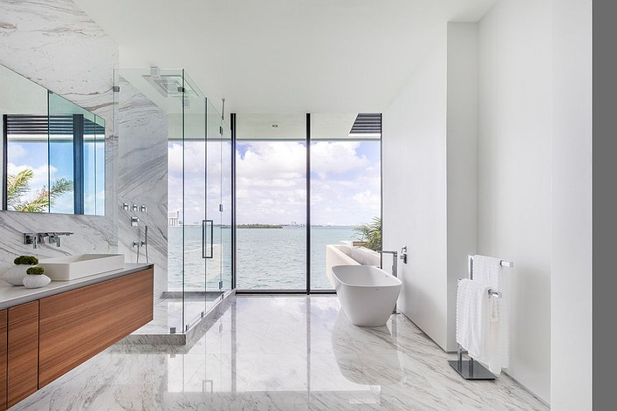 View outside adds to the grand appeal of the lavish bathroom