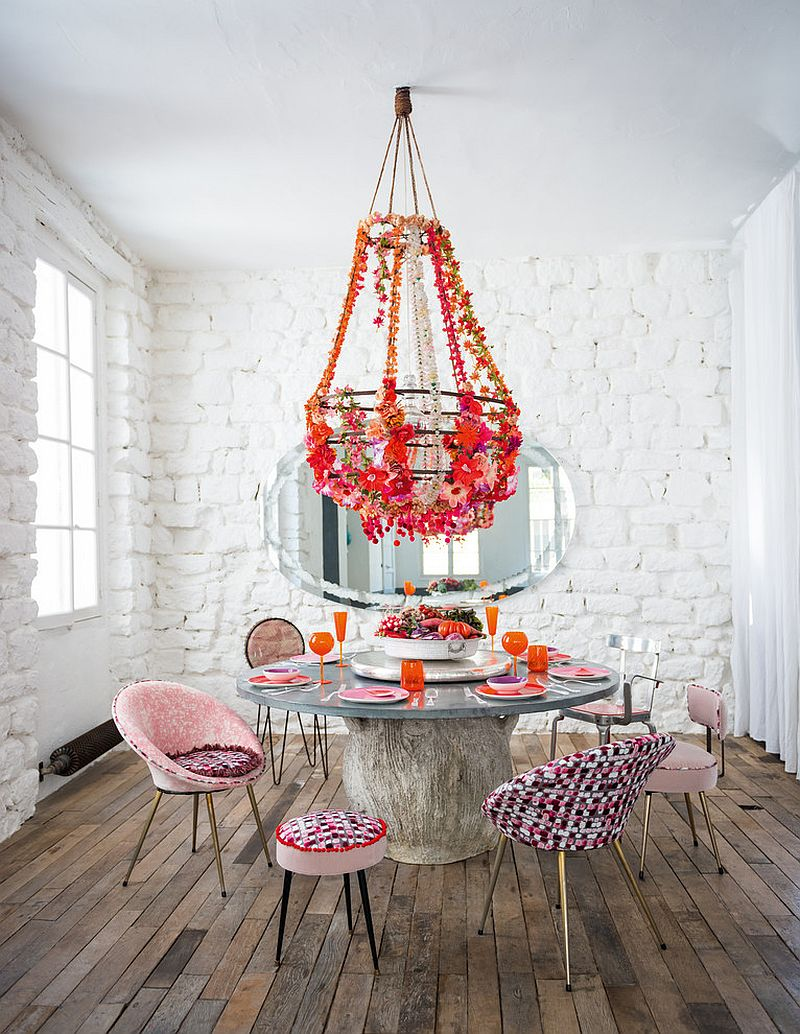 Whitewashed brick walls and colorful decor for the cool shabby chic dining room