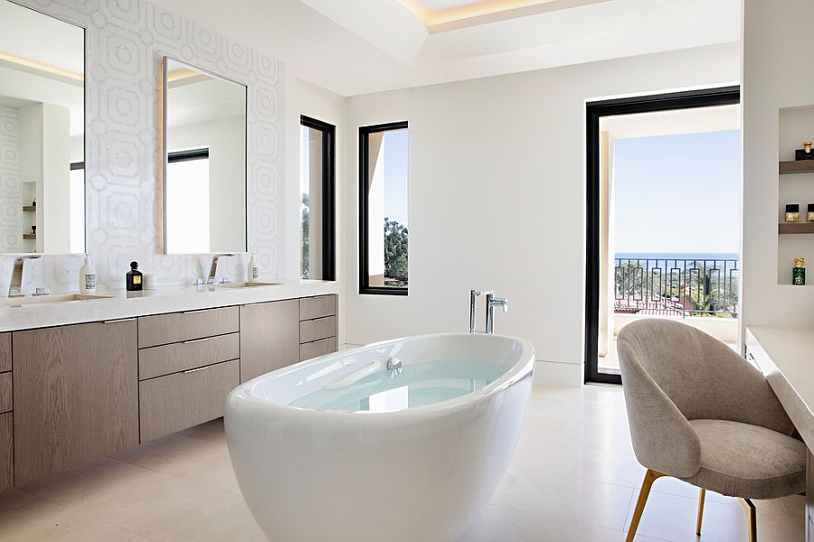 Window frames and accents bring black to this bathroom in white