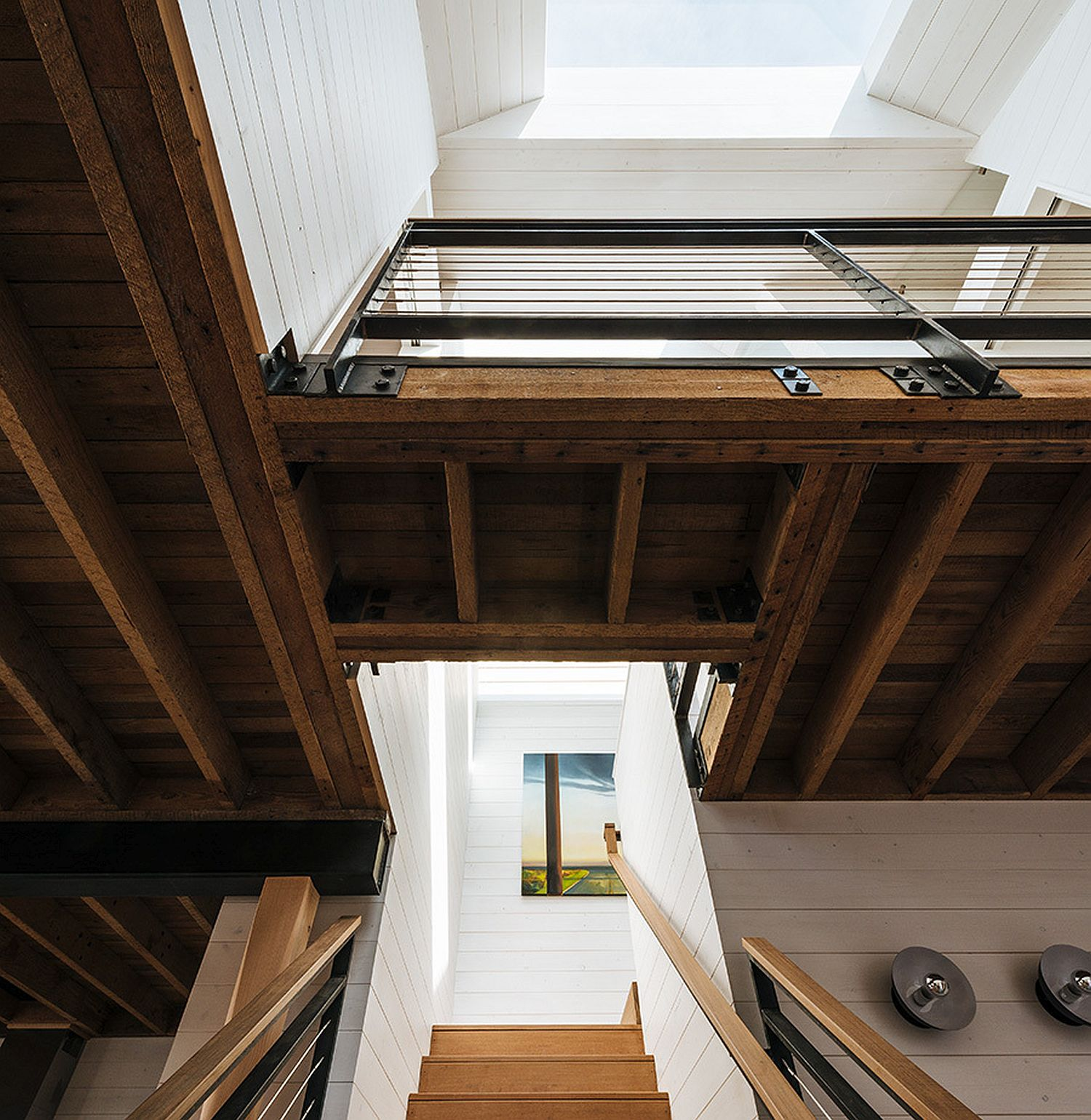 Wooden upper level of the house with bedrooms