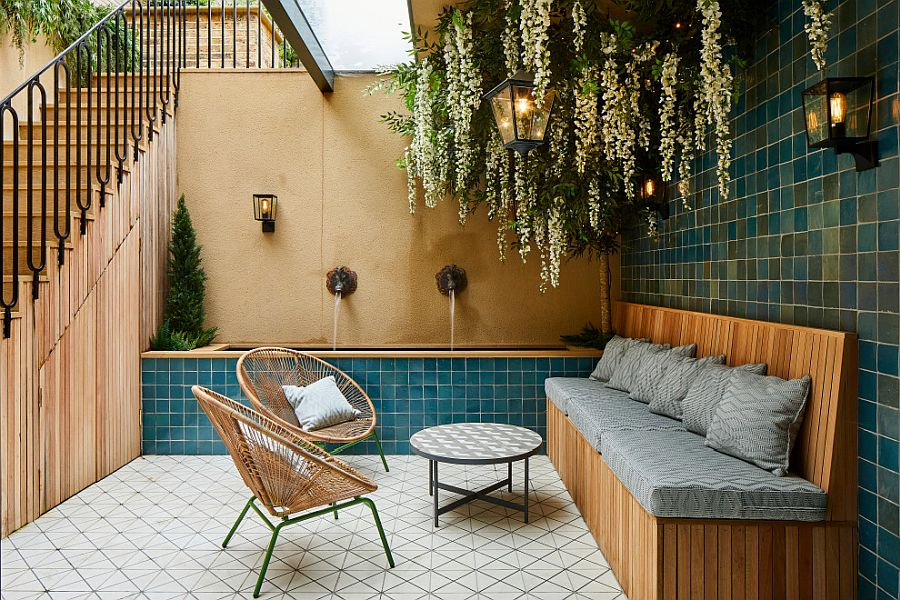Basement courtyard with innovative seating and green glitz!