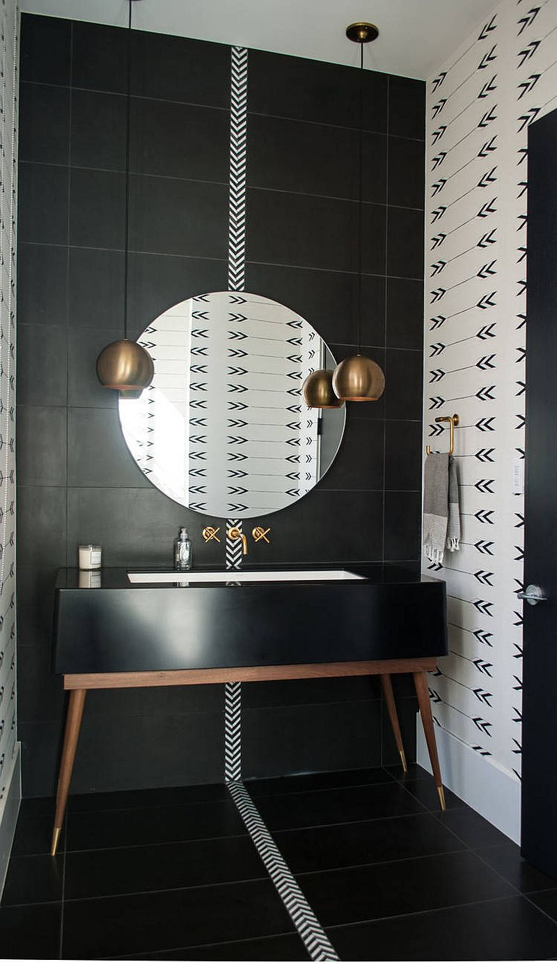 Black and brass theme is perfect for the space-savvy urban bathroom with modern sophistication