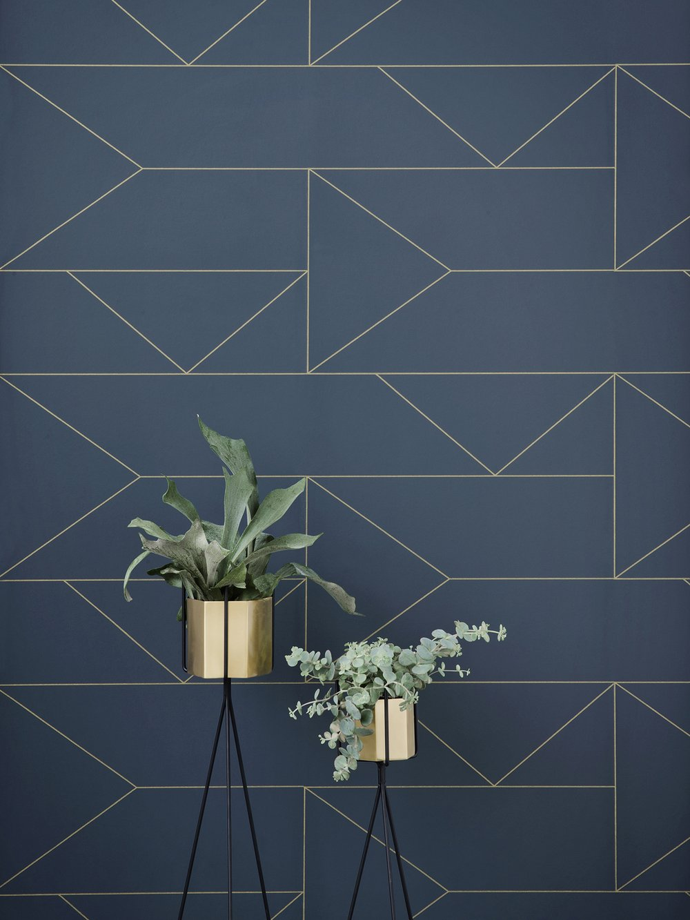 dark navy cool wallpaper with gold geometric pattern