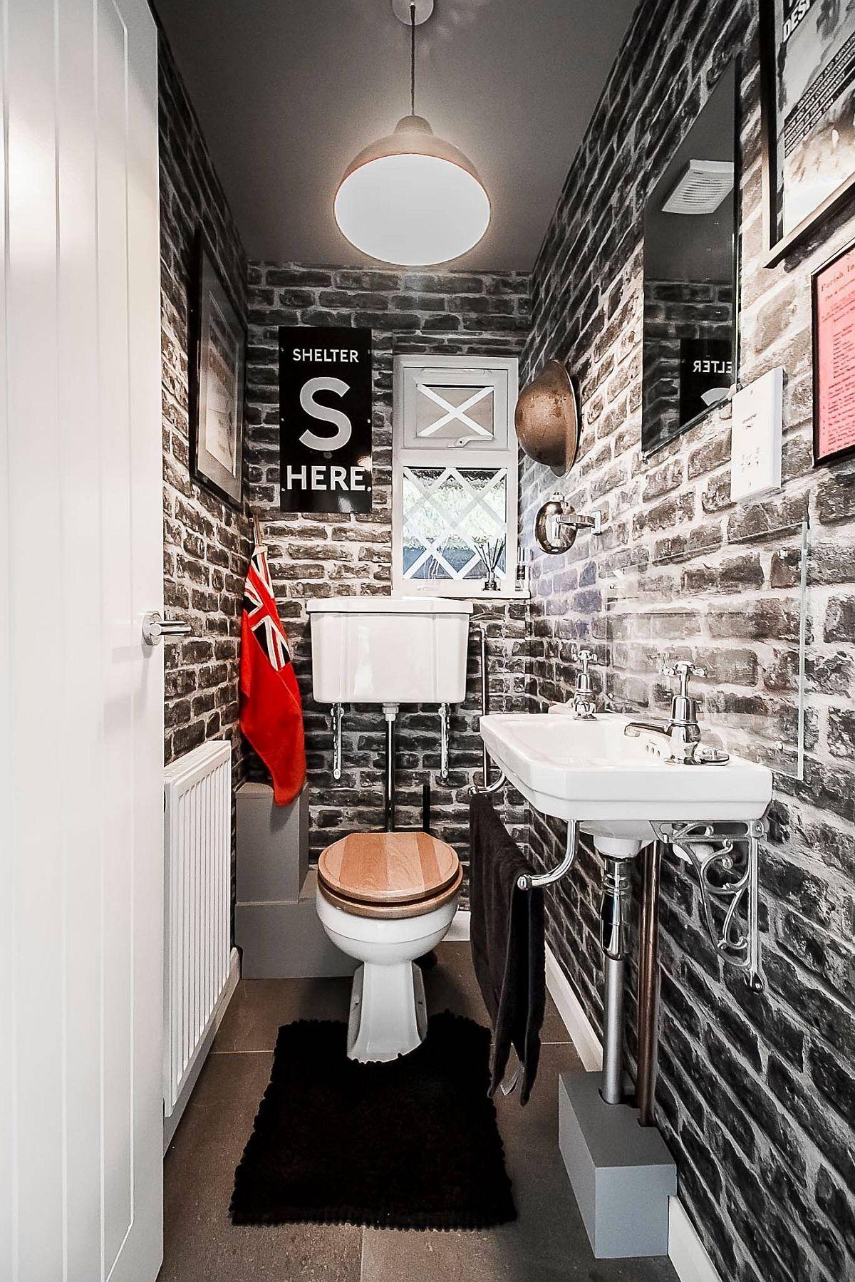 Brick wallpaper in the small bathroom makes a big visual impact