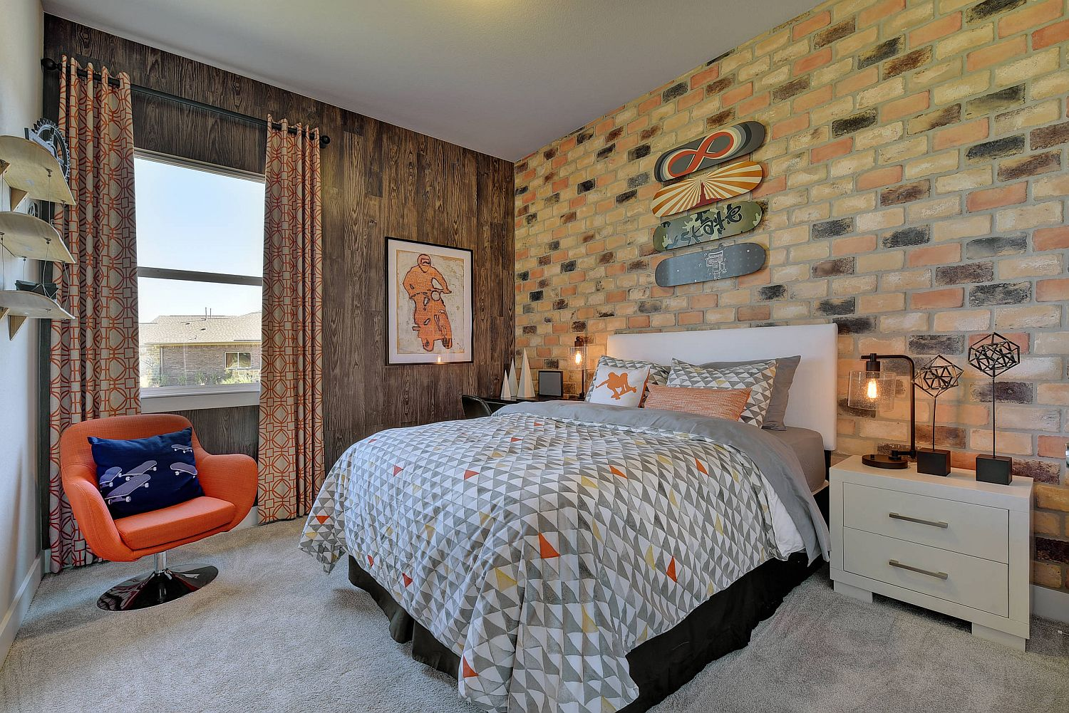 Brick wallpaper offers perfect alternative to faux brick tiles in the bedroom