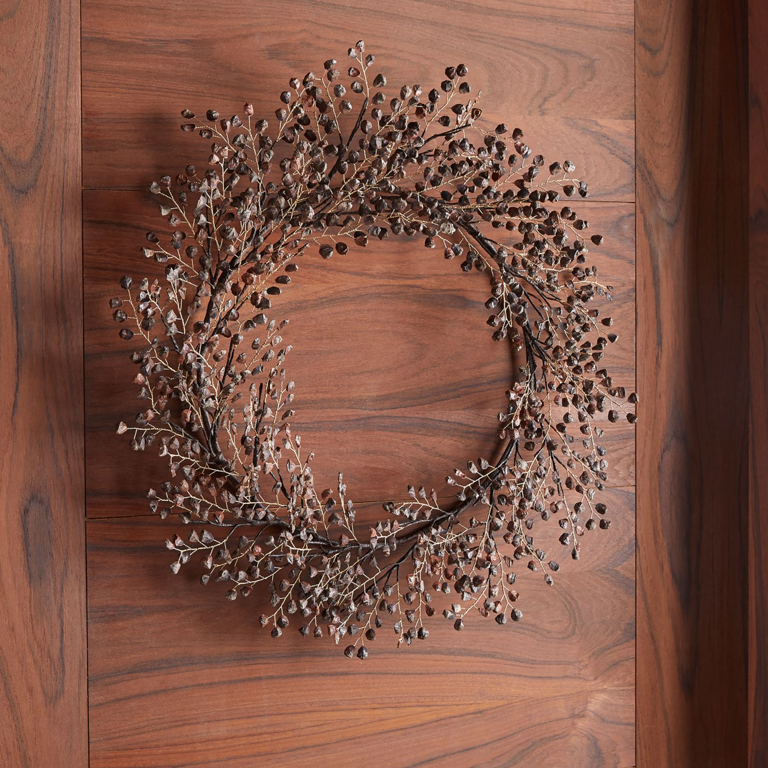 Brown pine chip wreath for fall