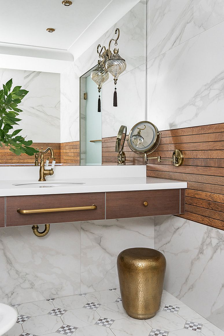Changing the faucets and cabinet handles is the easiest way to enliven the bathroom