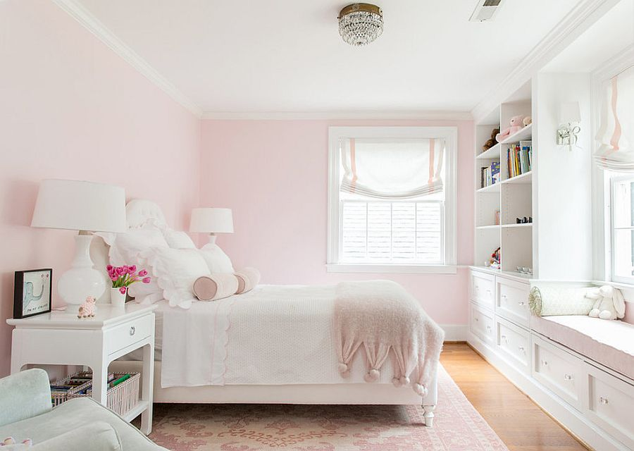 Charming girls' bedroom in pastel pink along with white