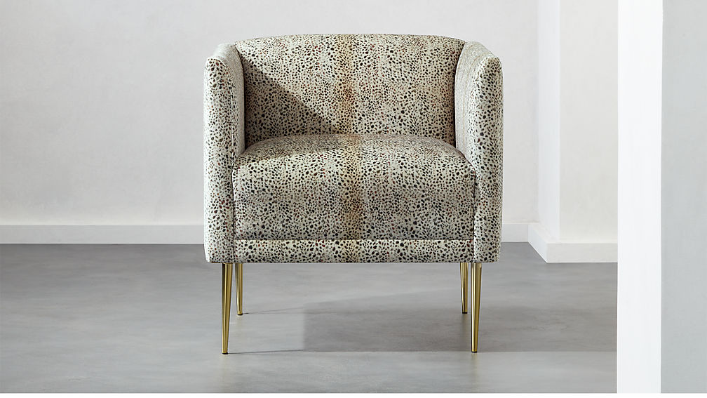 Cheetah print accent chair with brass legs