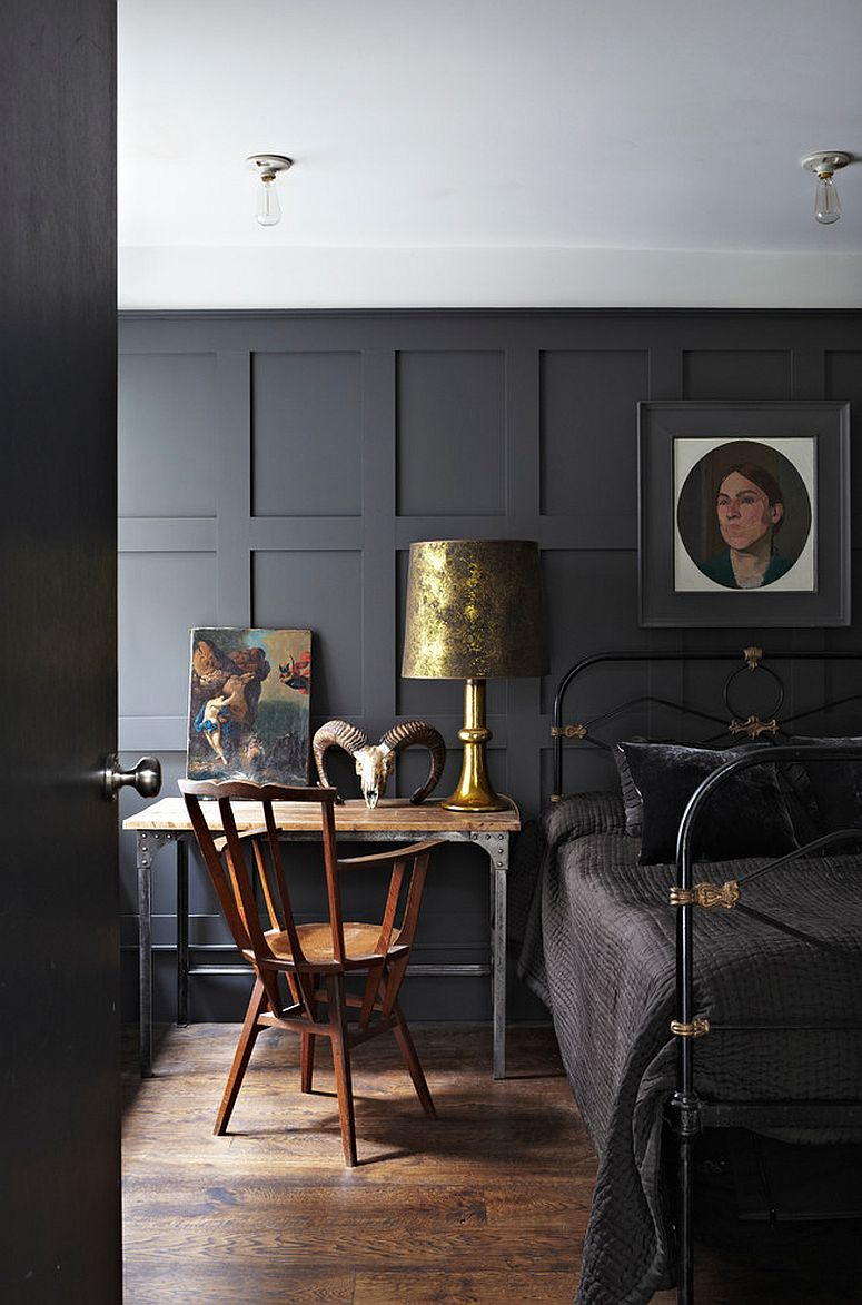 Contemporary bedroom in dark gray with brass accents all around!