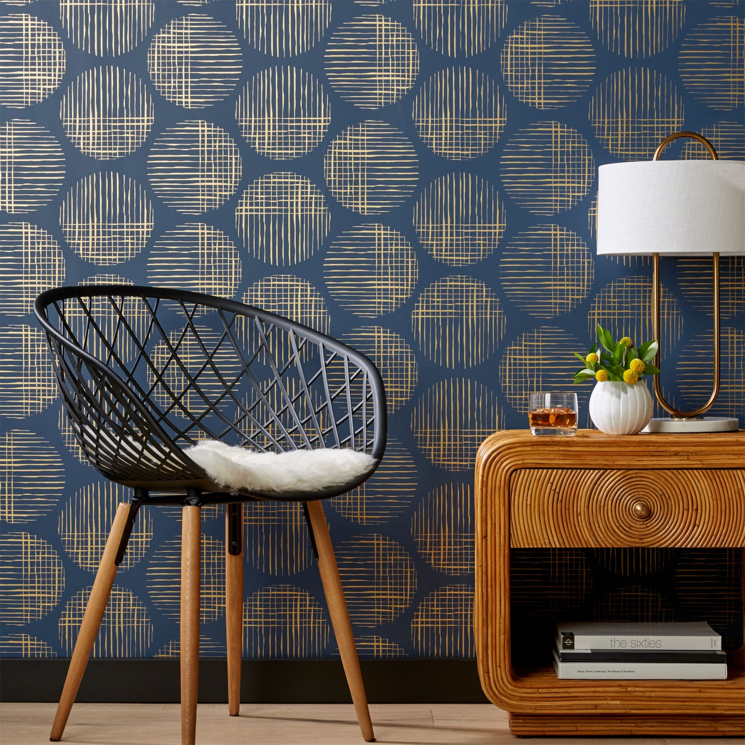 cool dark navy wallpaper with gold circles