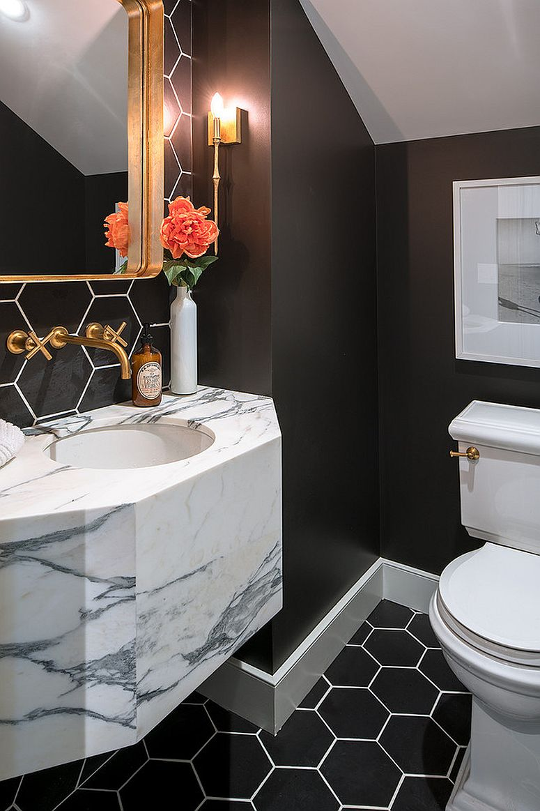 Dark hexagonal tiles are a hot trend in the contemporary bathroom