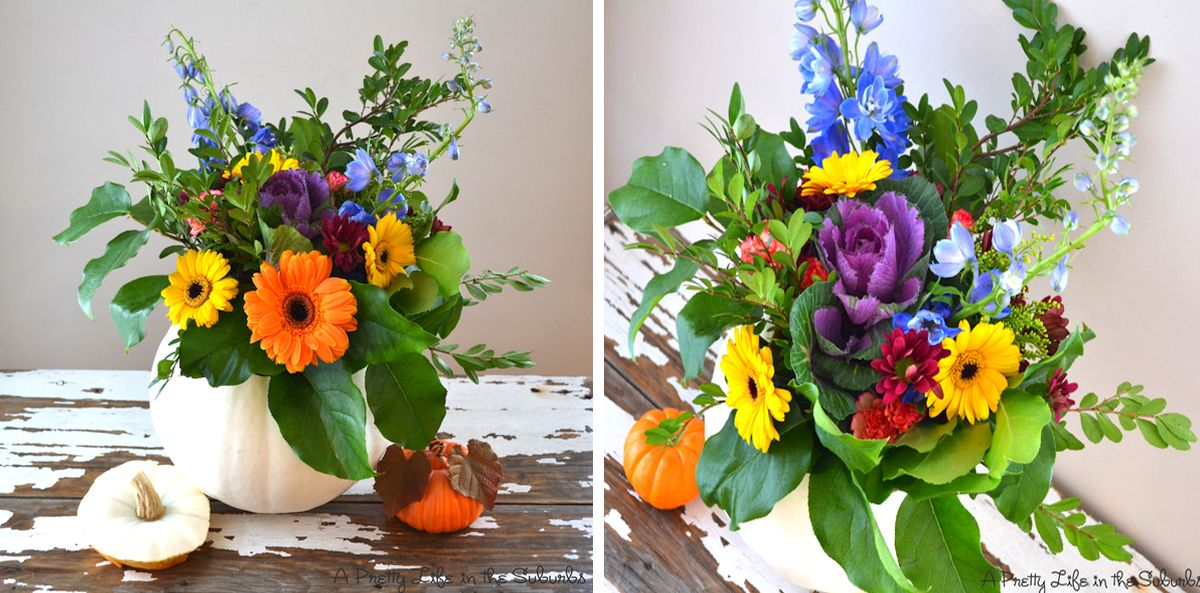 Easy pumpkin flower arrangement idea for last-minute Thanksgiving decoration