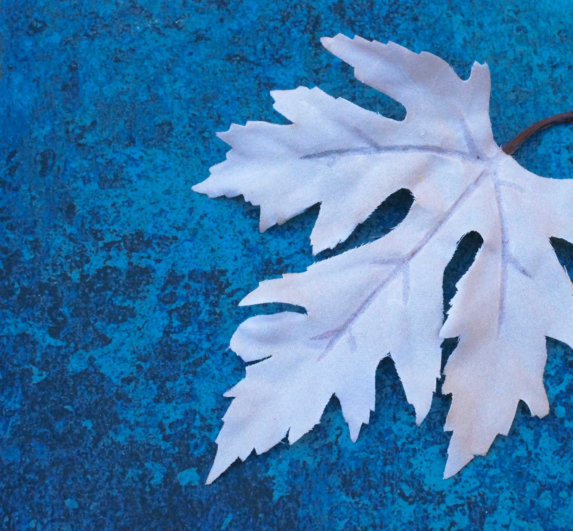 Faux fall leaf in ivory blush