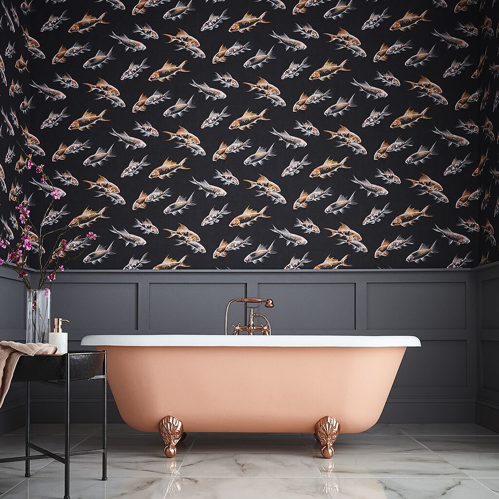 Fish-themed wallpaper in black
