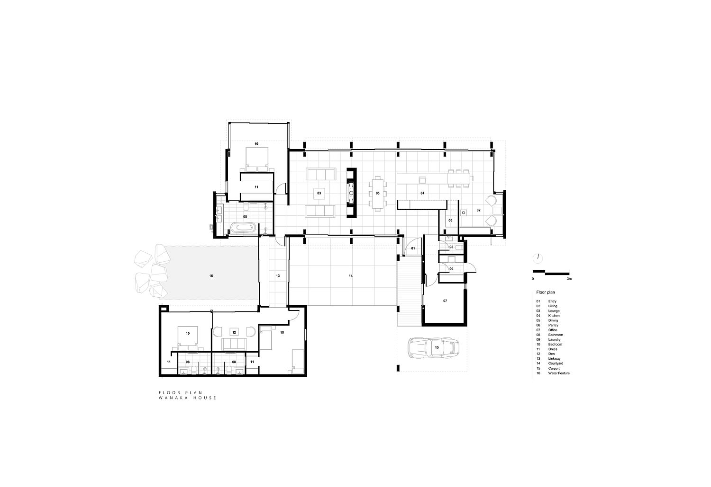 Floor plan of Wanaka House in New Zealand