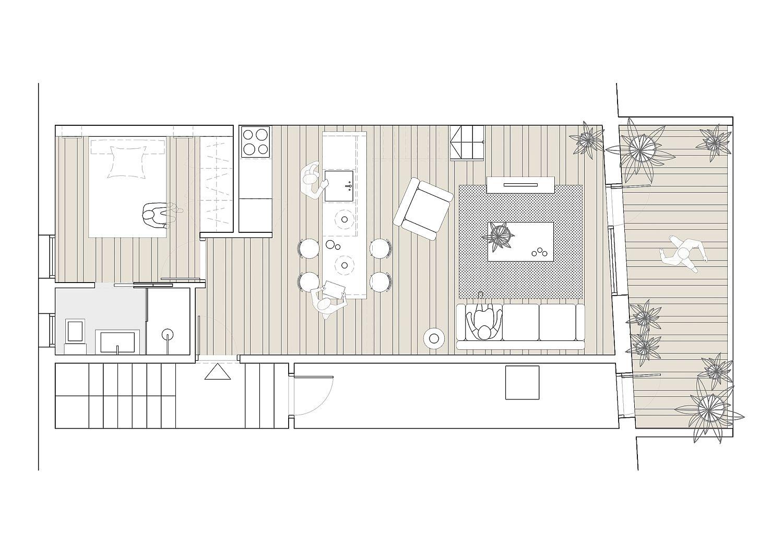 Floor plan of the tiny Mezzanine home in Barcelona revamped for modern living