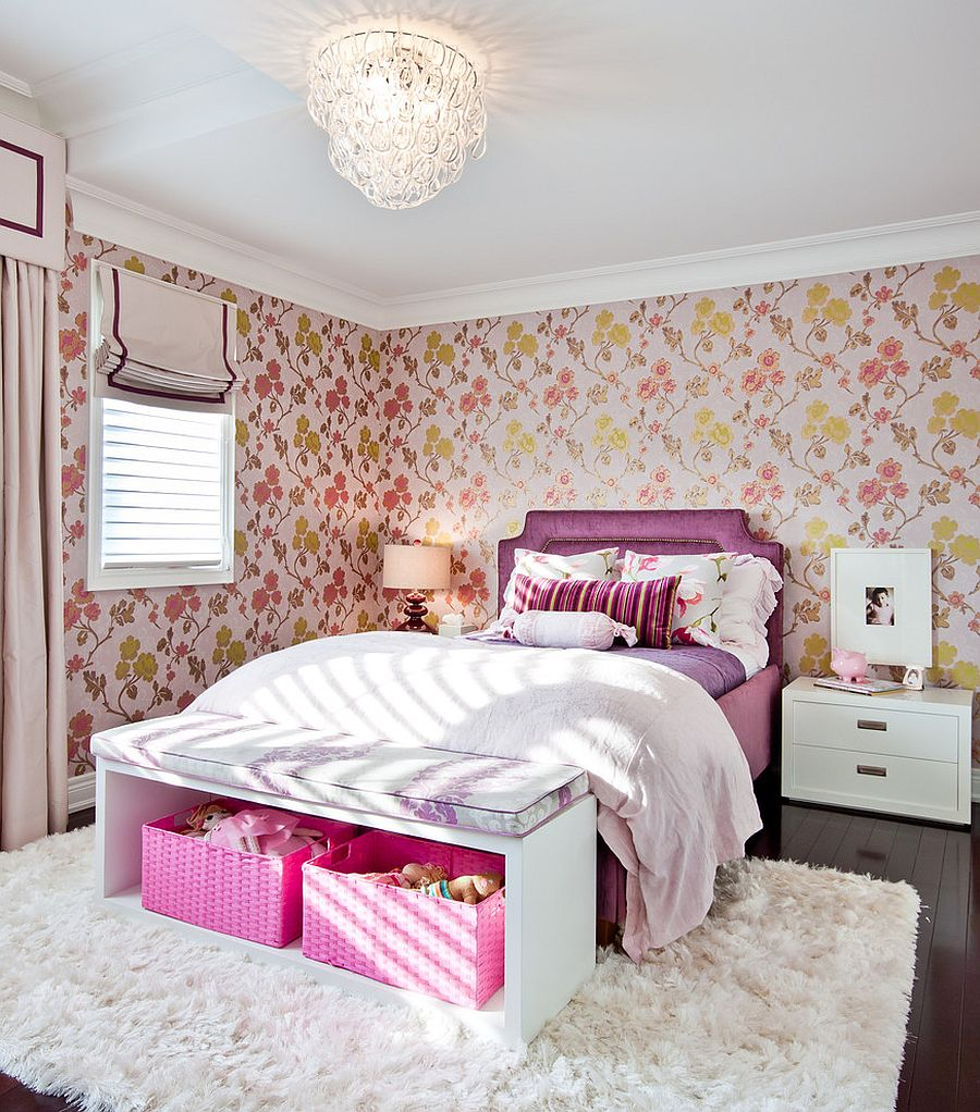 Floral wallpaper for the girls' bedroom is a showstopper