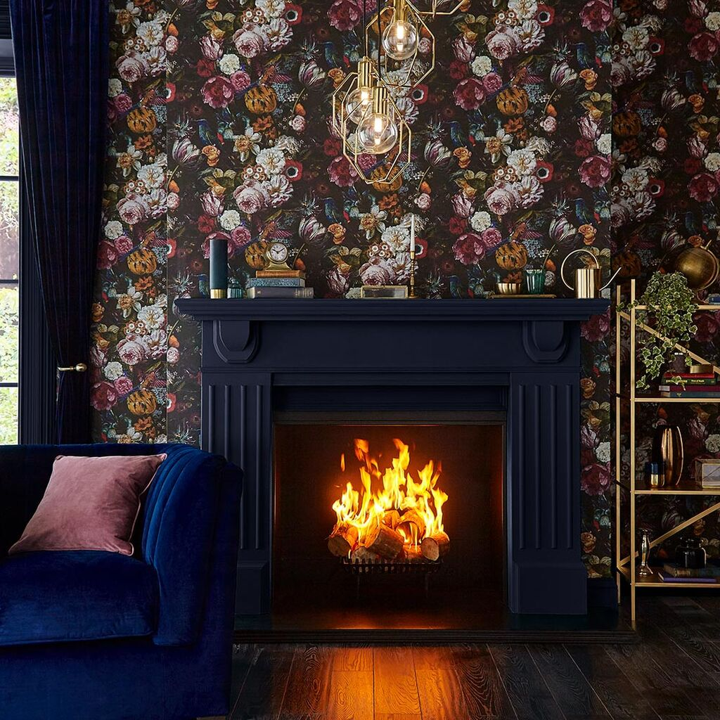 floral wallpaper with fireplace
