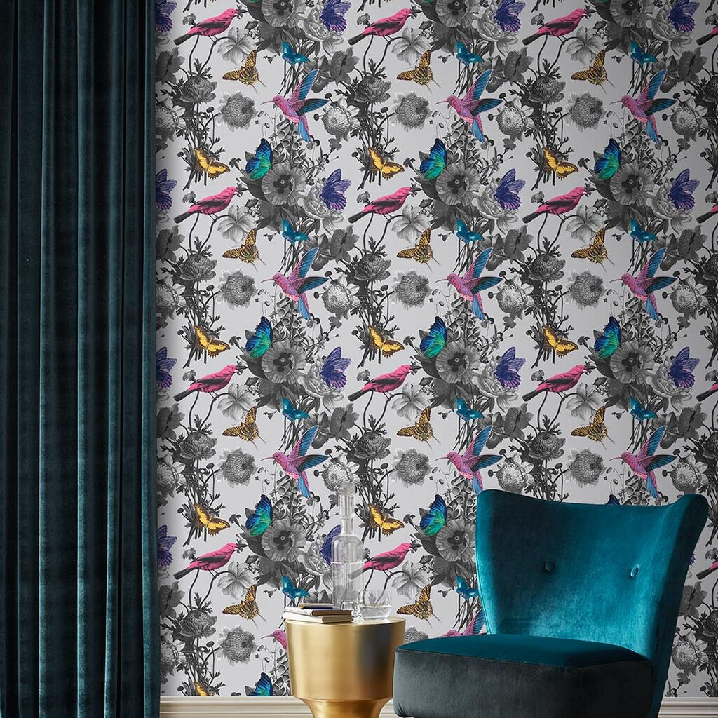 pink yellow and teal birds on white wallpaper background