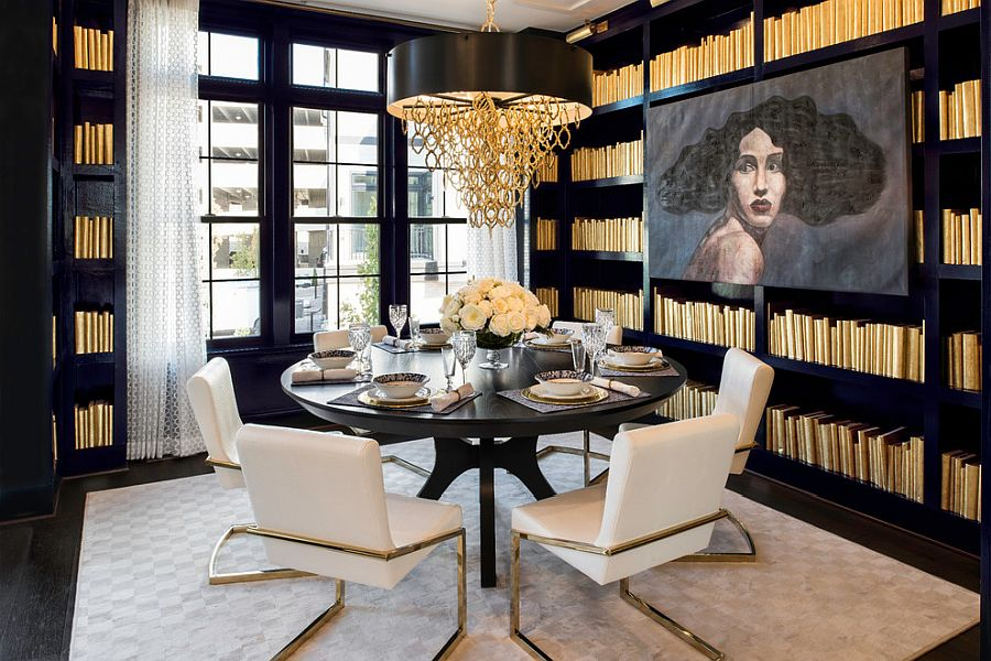 Glam dining room wrapped in black and brass