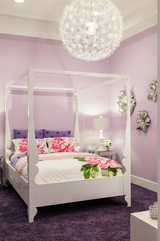 Glam teen bedroom in violet full of urban sophistication