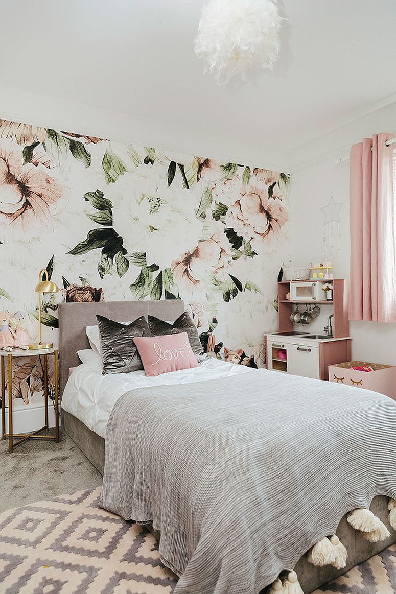 Gorgeous white and pink girls' bedroom with floral theme