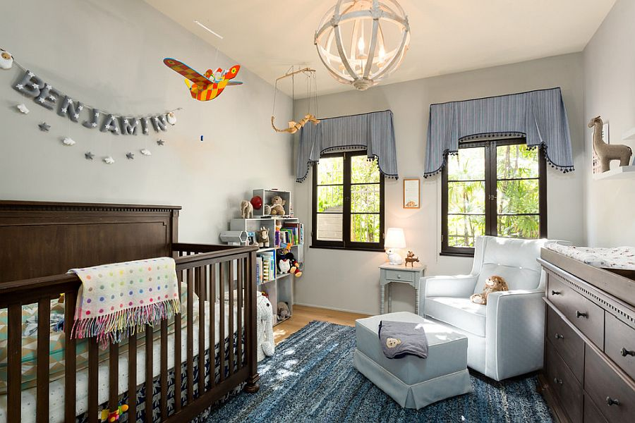 It is the crib along with other subtle touches that give this room a modern Mediterranean look