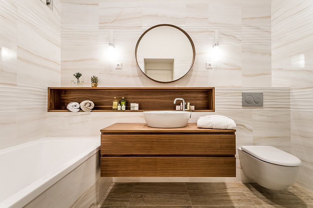 It is the floating wooden vanity that steals the show here