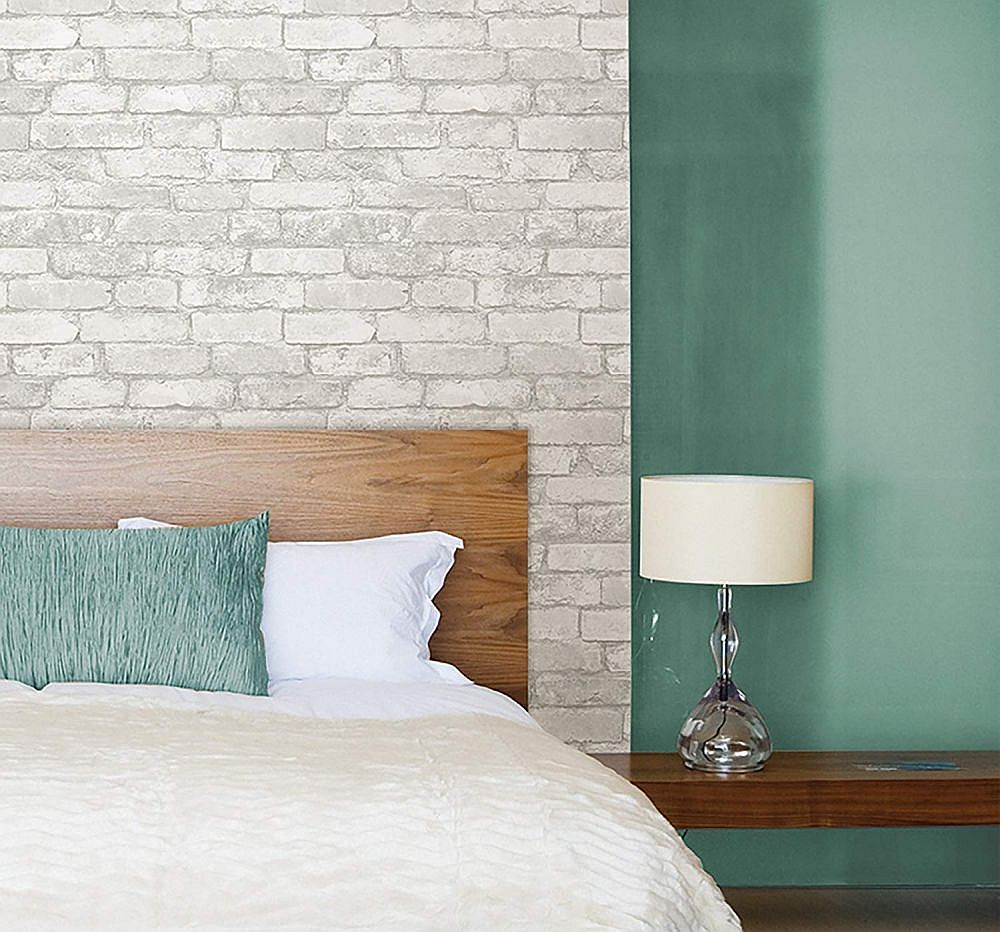 Lovely brick wallpaper accent wall in the bedroom