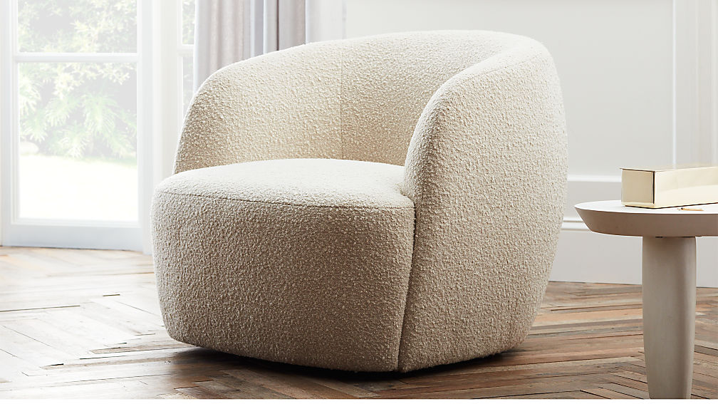 Modern swivel chair with boucle fabric