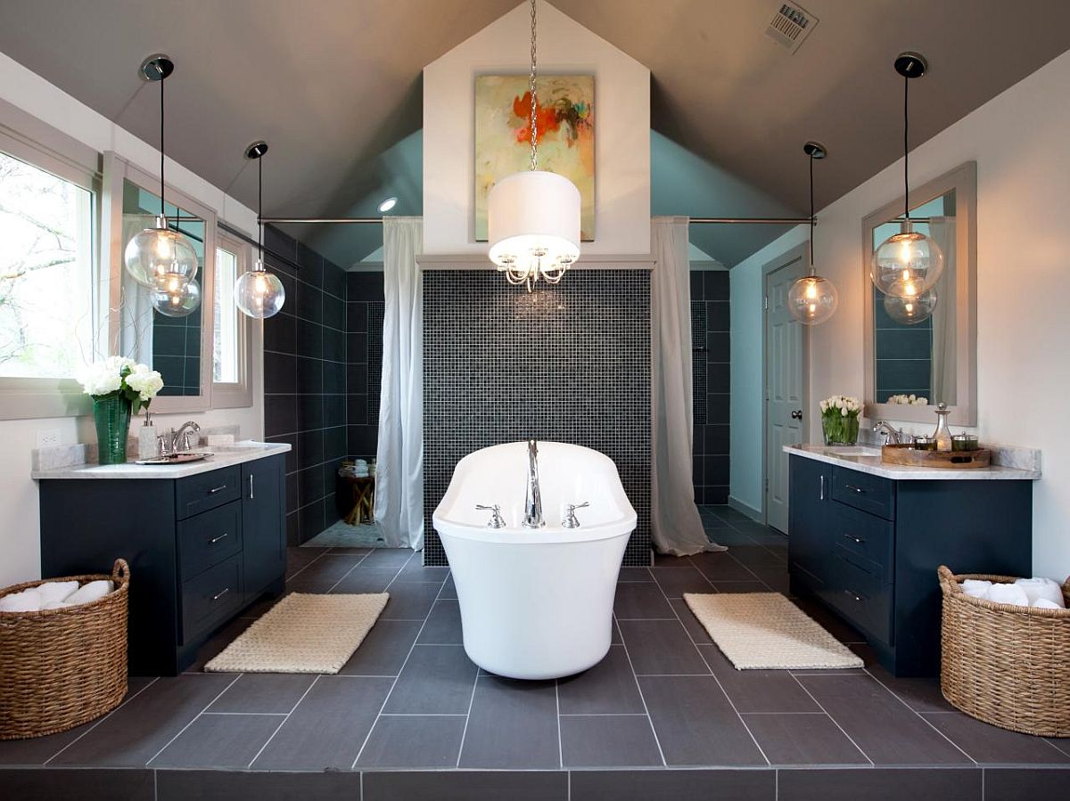 Modern take on the classic chandelier for the bathroom