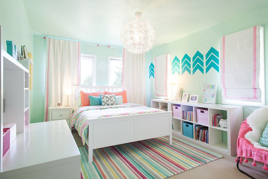 Pastel bluish-green for the boys' bedroom moves away from the mundane