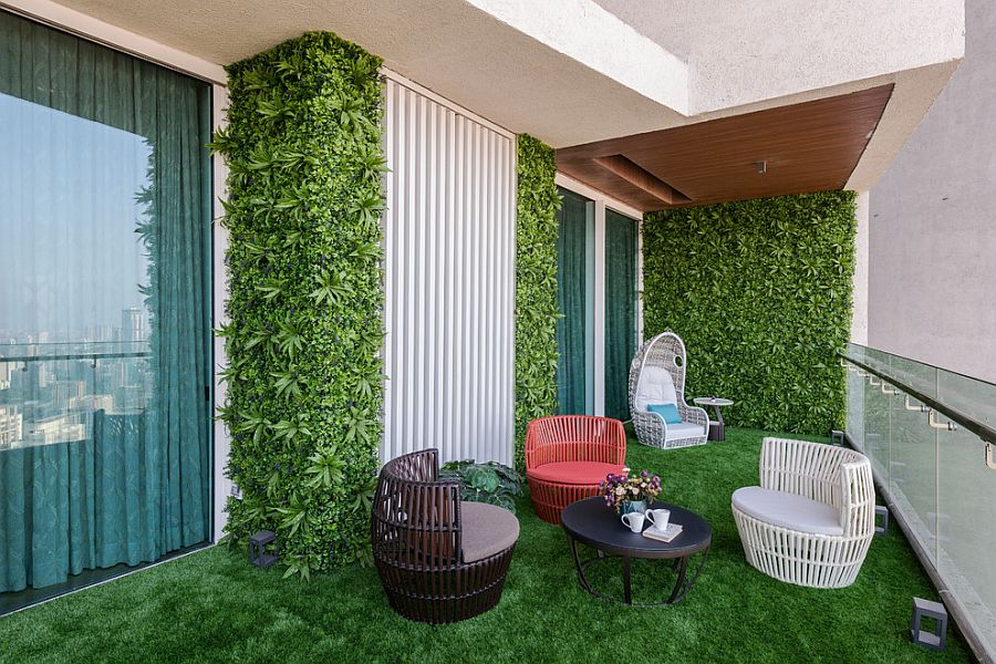 Pick your own personal style whenit comes to adding greenery to the balcony