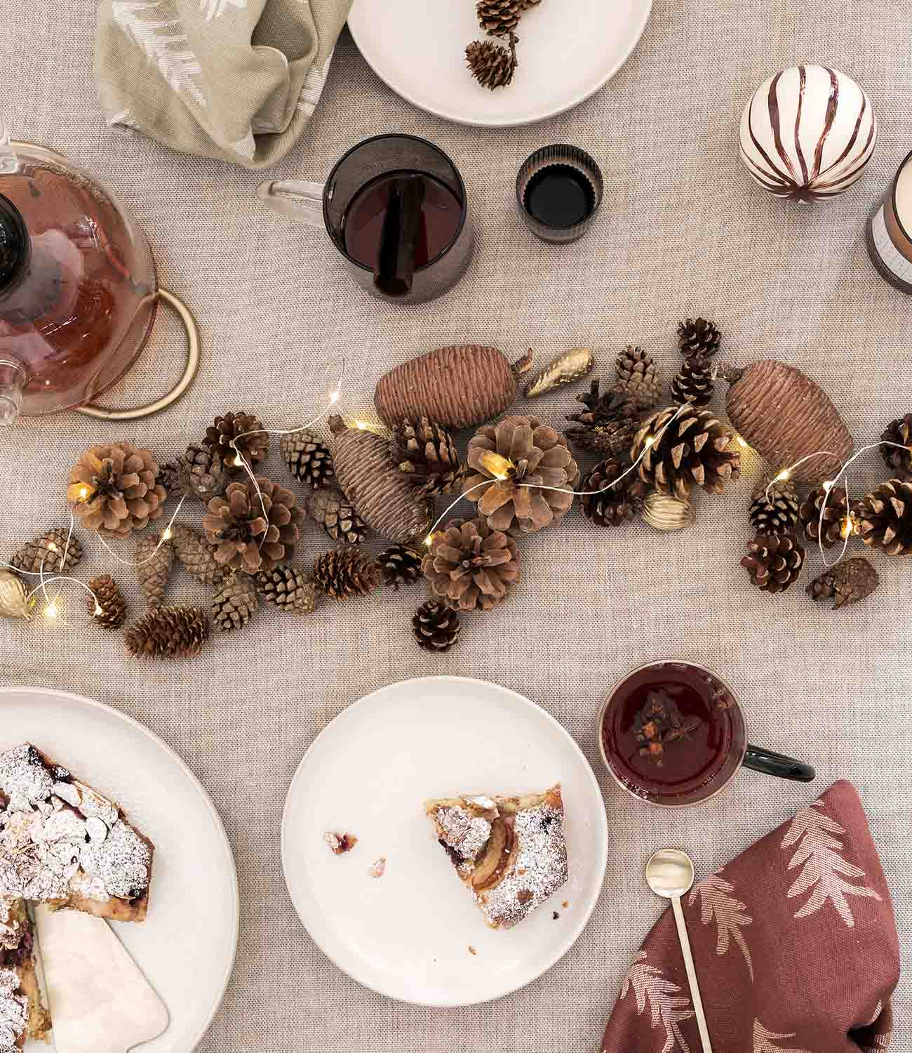 Pine cone Christmas centerpiece by ferm LIVING