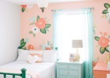 Pink-accent-wall-for-the-girls-bedroom-with-floral-theme-217x155