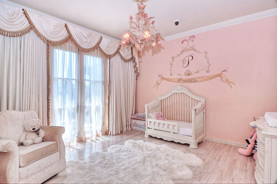 Pretty pink girls' nursery with elegant Mediterranean style