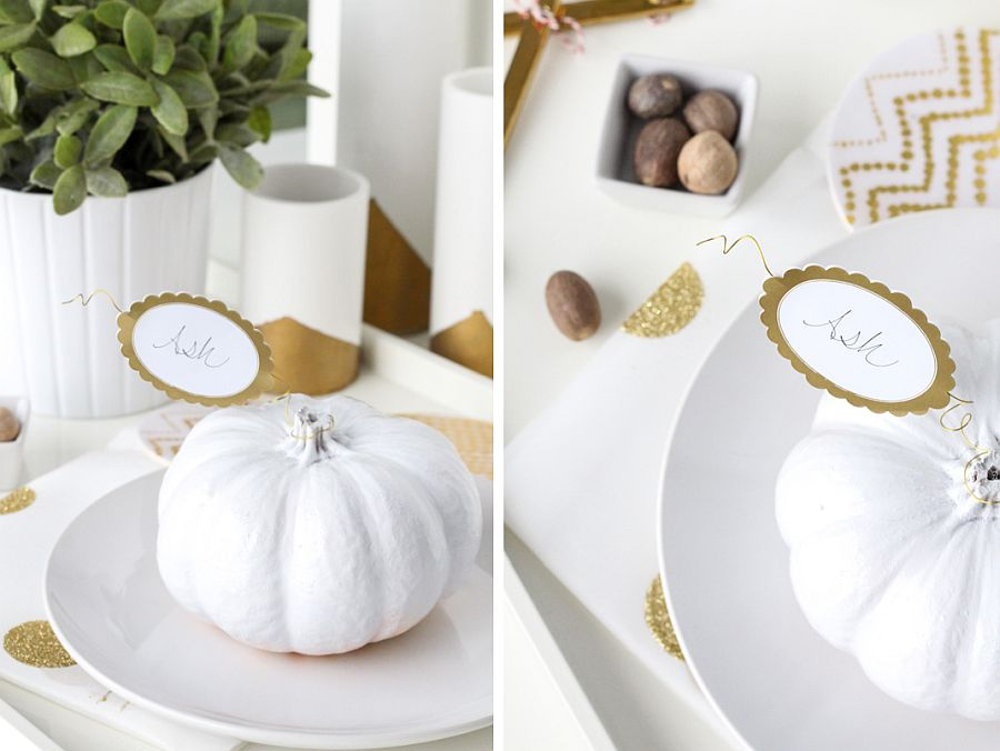 Pumpkin placecards are easy to craft and require little time