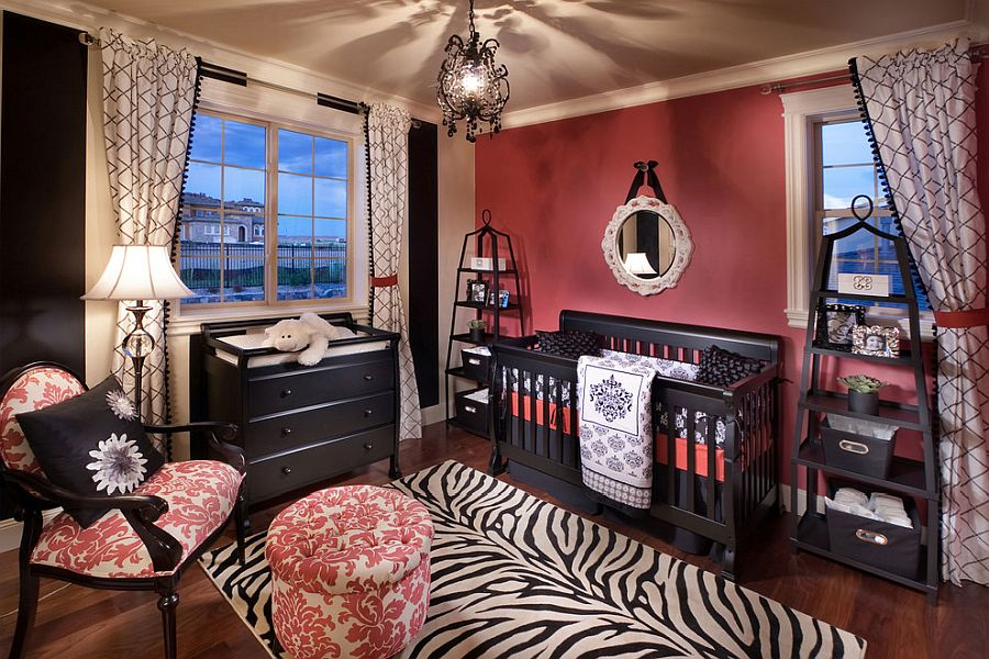 Rug with zebra print and dark pink walls for the Mediterranean style nursery