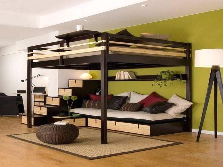 Rustic-modern-wooden-adult-loft-bed-with-sitting-area