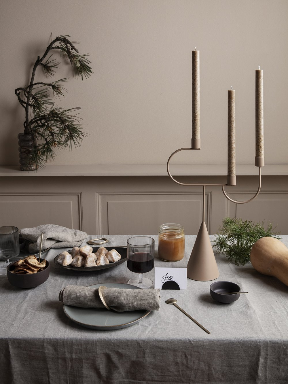 Sculptural modern candelabra with a cone base
