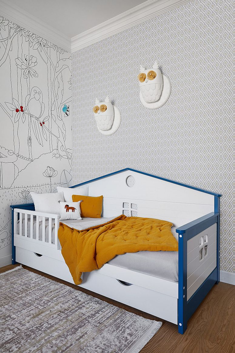 Small and stylish bed in the kids' bedroom is also a space-saver