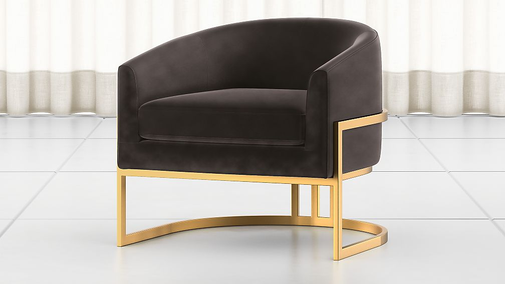 Smoky grey chair with brass frame
