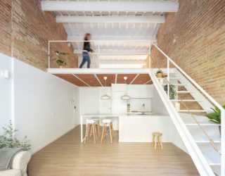 Tiny Barcelona Home Refurbishment in White, Brick and Wood with Mezzanine Level