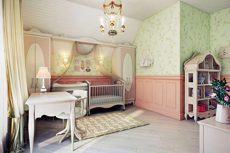 Spacious and elegant modern Mediterranean style nursery with bookshelf