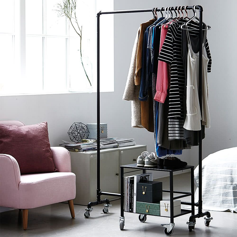 Standalone storage unit on wheels offers ample space for your budding wardrobe collection