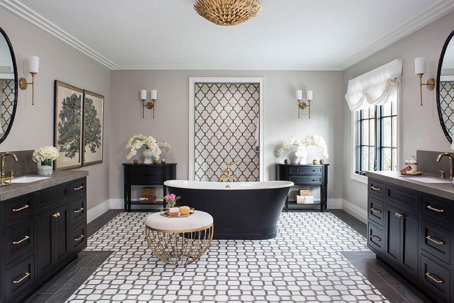 Stunning black, white and gray bathroom