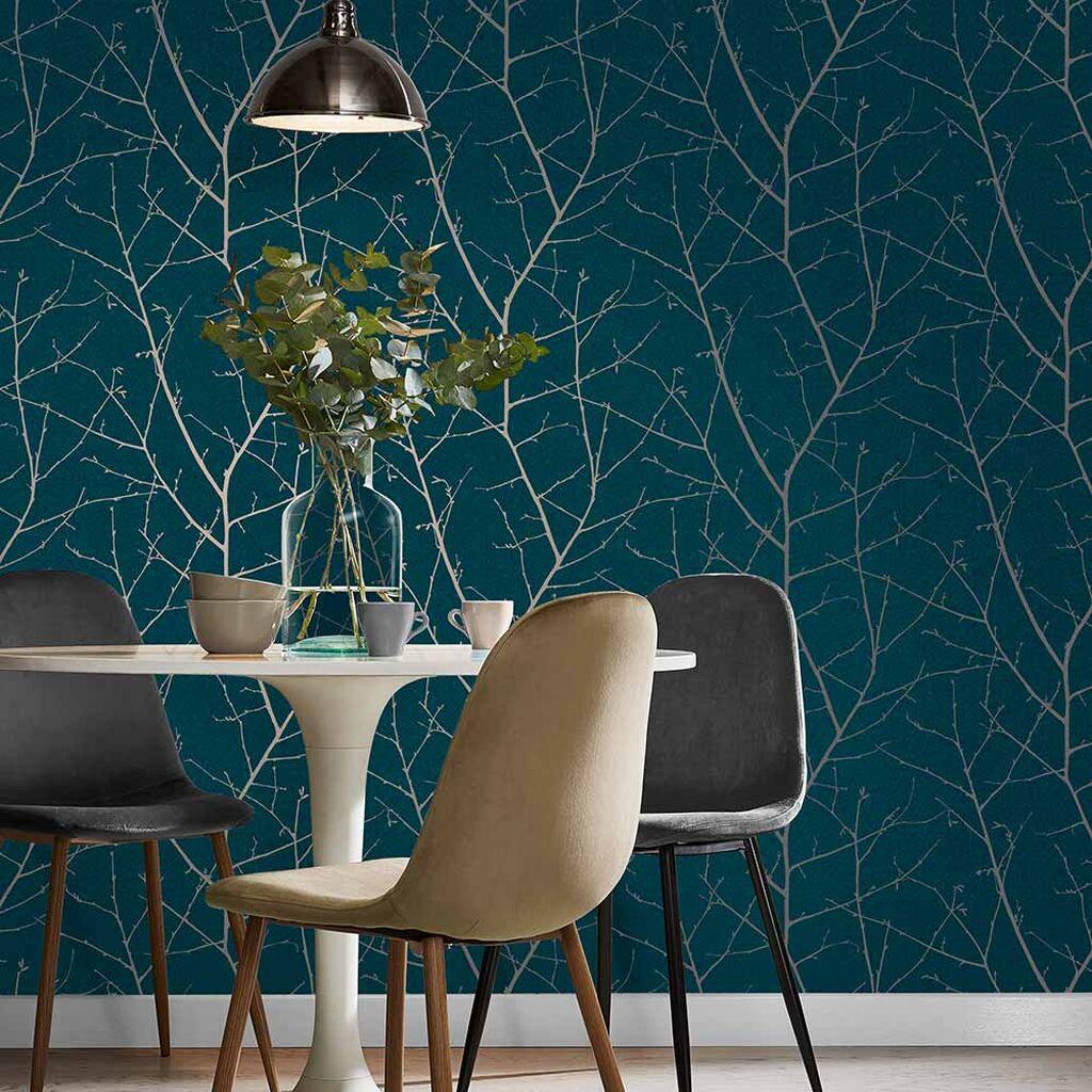 deep green wallpaper with forest motif