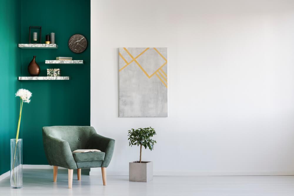 Teal corner in a modern room
