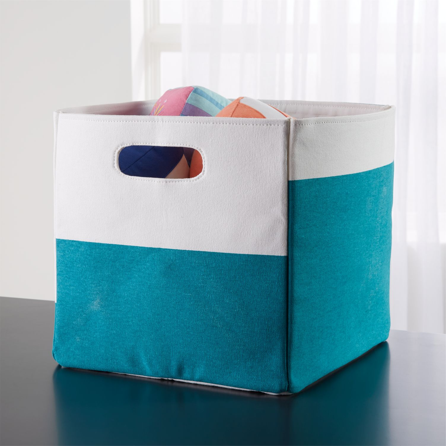 Teal cube storage bin